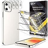 EGV Compatibile con iPhone 12 Protector de Pantalla,3 Pack Cristal Templado e 3 Pack Protector de Lente de Cámara Transparent