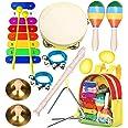 Instruments de Musique pour Enfants Professionnel, Smarkids Jouets Musicaux Educatifs Bois Percussion pour Bébé avec Xylophon