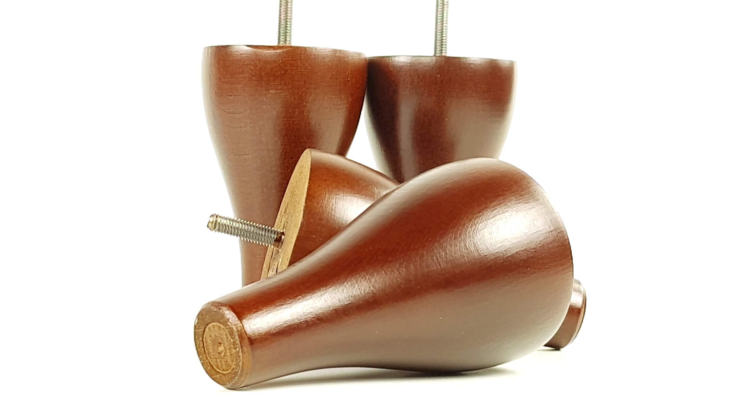 Piedini in legno massello di ricambio per gambe mobili mm