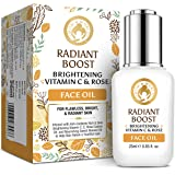 Mom & World Radiant Boost Brightening Vitamin C & Rose Face Oil, With Vitamin C, B3, Hyaluronic Acid, Argan Oil For Flawless,