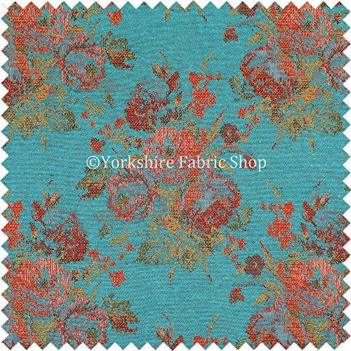 Full Blumen Muster Chenille in blaugrün rot grün Farbe Qualität Innendekoration Stoff, Chenille, blau, 10 Meter