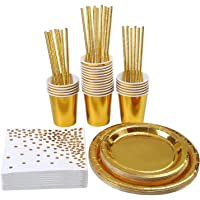 Aneco 146 Pieces Gold Party Supplies Party Tableware Foil Paper Plates Napkins Cups Straws for Weddings, Anniversary, Birthday for 24 Guests