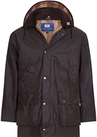 Men's Wax Jacket Waterproof Hunting Drover Padded Quilted Hunting Shooting Fishing Unisex Ladies Country Clothing Farming Farmers Unisex Horse Equestrian Riding Made in UK British Jackets