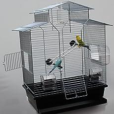 Vogelkäfig,Wellensittichkäfig,Exotenkäfig,60 cm Vogelkäfig Vogelbauer Wellensittich Kanarien Voliere Vogelhaus Käfig IZA 2 II schwarz