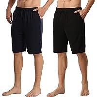 Mens Pyjamas Bottoms 2 Pack Ultra Soft Comfy Knit Men Lounge Pyjama Shorts with Elasticated Waist