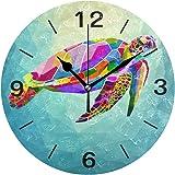 ISAOA Ocean Rainbow Turtle Wall Clock, Silent Non Ticking Clocks Battery Operated Desk Clock 9.5 Inch Quartz Analog Quiet Bed