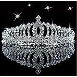 Tiara de princesa con diamantes de imitación de cristal brillante para niños, corona de cumpleaños, tiara con peine...
