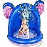 lenbest Shade Baby Pool, Pataugeoire Gonflable avec Auvent en PVC et Base de Bulles Extra Douce, Sprinkle Splash Pool Spray W