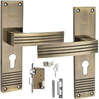 MORTICE HANDLE, MORTICE LOCK , DOOR LOCK , LOCK ATOM Antique Finish Zinc Mortise Pair Cylindrical Lock with 3 Keys (8 Inch), Atom lock,Cylindrical Lock, mortise lock