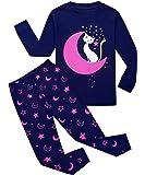 Garsumiss Pigiama per bambine e ragazze, in cotone con motivo sirena, con maglietta e pantaloni, per bambine dai 2 ai 7…