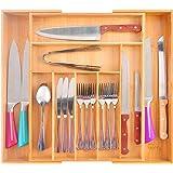 Range-couverts extensible en bambou - 7 à 9 compartiments - Pour cuisine, chambre, salle de bain, bureau, etc. 33,5-50 x 44,5