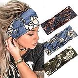 Zoestar Stirnband im Boho-Stil, gekreuzt, Blumenmotivdruck, Kopfwickel, Knoten, Turban, Haarband, modisch, elastisch…
