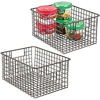 mDesign boîte en métal polyvalente (lot de 2) – grand panier de rangement en fil métallique pour la cuisine, le garde…