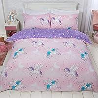 Dreamscene, set di biancheria da letto con copripiumino e federa, reversibile, motivo unicorno, in policotone, 50…