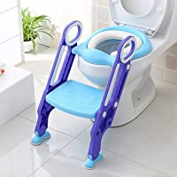 ASPIRE UK® Potty Training Toilet Seat with Step Stool Ladder for Kids Children Baby Toddler Toilet Training Seat Chair with Soft Cushion Sturdy and Non-Slip Wide Steps for Girls and Boys