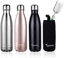 Sportneer® Bottiglia Acqua in Acciaio Inox, Portatile Borraccia Termica 500ml, Doppia Parete in Acciaio Inox coibentato...