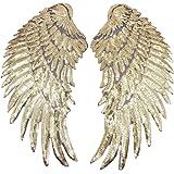 1 par de apliques de alas de lentejuelas, grandes parches de alas de ángel, parche bordado con diseño de alas de ángel para r