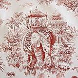 Stoff Baumwollstoff Baumwolle Toile de Jouy Kolonial rot