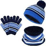 VBIGER Sombreros de Caliente Punto para Niños y Niñas con Forro de Felpa Corta, Set de Bufanda, Gorro y Guantes, 3 Piezas, 3-