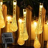 Eleadsouq Solar Water Drop Fairy String Light 30 LEDs Warm White Outdoor Decorative Starry Lights Solar Power Home Decor Ligh