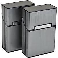 Aluminium Zigarettenetuis von eLander [2er/Set, Grau] Magnetisierte Deckel, Elegante Entwurf Aluminium Zigaretten Kasten