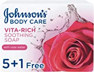 JOHNSON'S, Body Soap, Vita-Rich, Soothing, 125g, Pack of 5 + 1Free