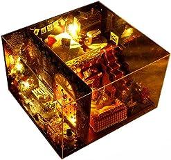DIY Puppenstube Miniatur Puppenhaus Miniatur Moebel DIY Dollhouse Spielzeug Kit Weihnachten Geburtstag Kreatives Geschenk mit LED Licht
