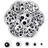 TOAOB 262 pièces Yeux Mobiles Autocollants Adhésifs en Plastique Wiggle Rondes Noir Blanc 6mm 8mm 10mm 12mm 15mm pour Artisan
