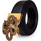Men Cowhide Belt,Animal Belt 3D-Print Automatic Ratchet Buckle Black Waist Belt Holeless Designer Jeans/Cowboy Gift Box