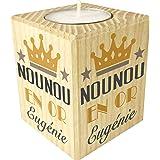 Gravure Events Bougie personnaliséeNounou en Or – Porte Bougie en Bois personnalisé avec Le prénom – Cadeau de Fin d'année p