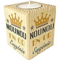 Gravure Events Bougie personnalisée Nounou en Or – Porte Bougie en Bois personnalisé avec Le prénom – Cadeau de Fin d…