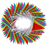 walolo Bunting Banner, 164 Feet Multicolor Nylon Pennant Banners Flag Outside Party Banner 75 Flags for Wedding Birthday…