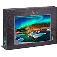 """Ulmer Puzzleschmiede - Puzzle """"Lonely Lights"""" - Classic 1000 Piece Puzzle - Winter Scandinavian Landscape at Night…"""
