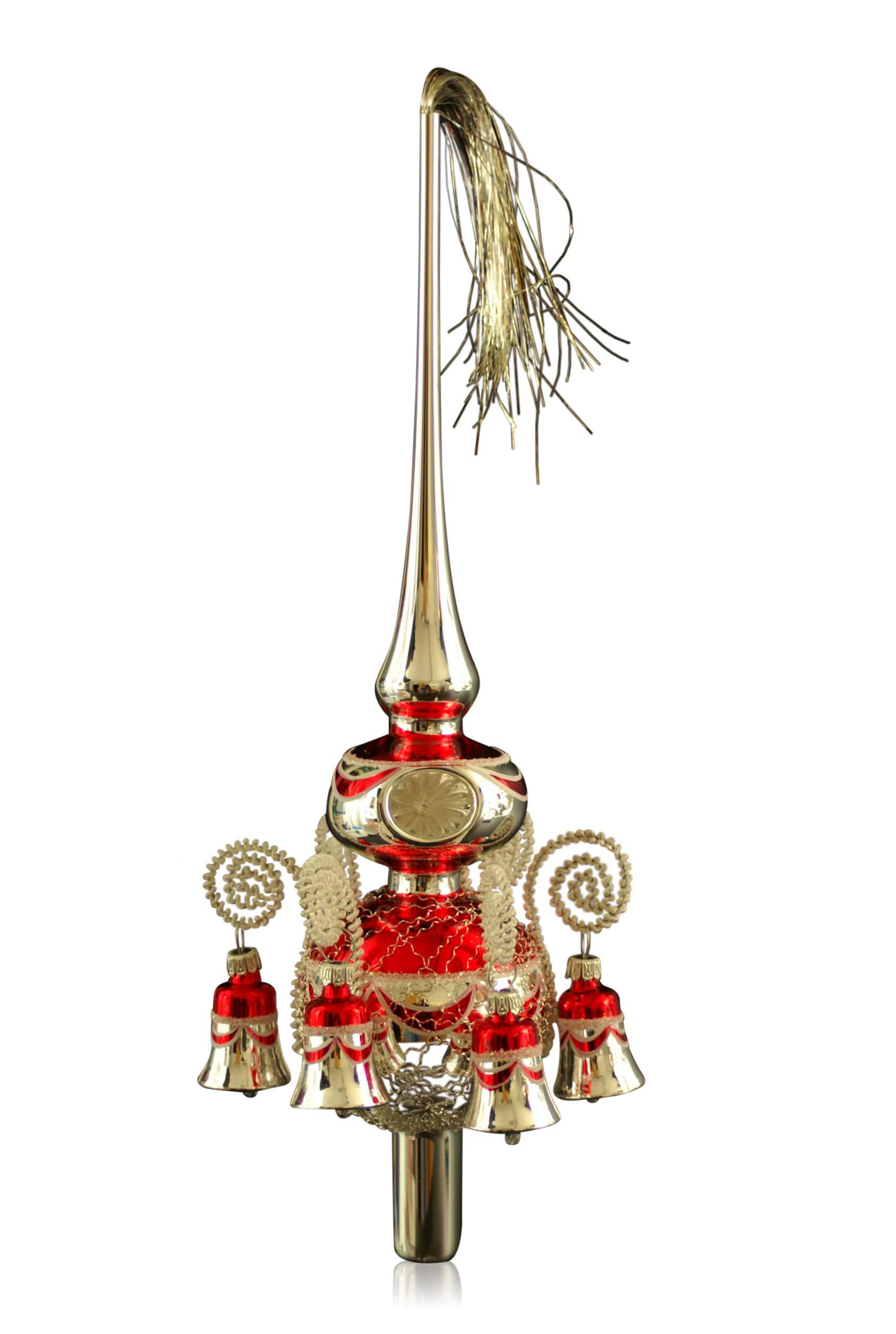 Doppelspitze-mit-Glckchen-silber-rot-umsponnen-L-ca-33cm-dKugeln-68cm-Christbaumschmuck-Weihnachtsbaumschmuck-mundgeblasenhanddekoriertLeonischer-Draht-Lauschaer-Glas-das-Original