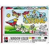 Marabu 0406000000127 - Window Color fun & fancy Set Spring Time, Transparentfarbe auf Wasserbasis, für glatte…