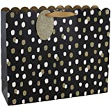 Clairefontaine 24669-6C - Un sac cadeau shopping 37,3x11,8x27,5 cm 210g, Pois or et blanc