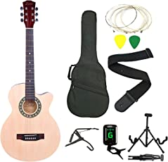 Zabel Elletra Series Acoustic Guitar with Truss Rod, Right Handed, Natural, Super Combo with Bag, 1 pack Strings, Strap, Picks, Capo, Tuner and Foldable Guitar Stand