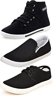 ETHICS Men's Perfect Combo Pack of 3 Black Casual Loafer Shoes-for Black Shoes Lovers