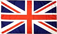 3x5 British Flag with Two Brass Grommets 100% Polyester, UK Flag, United Kingdom Flag, Union Jack Flags, English Flag England