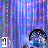 Bigzom Guirlande Rideau, Rideau Lumineux USB 300 LED 3m*3m 8 Modes d'Eclairage, Decoration de Fenêtre, Noël, Mariage, Anniver