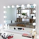 Meidom Hollywood spiegel met verlichting, met USB, voor wandmontage en desktop, 15 dimbare lampen, 3 kleurtemperatuur licht m