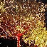 Cadena solar luces, Sunvito 66ft 200 LED 2 modos luces solares String & intermitente impermeable luces para exterior, jardines, casas, fiesta de Navidad, boda (Blanco cálido)