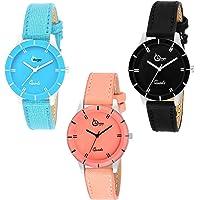 Shunya 605-BLK-ORNG-SB Analog Watch - for Girls Analog Watch - for Women Combo Pack-3