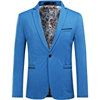 YOUTHUP Mens Slim Fit Blazer Casual Business 1 Button Suit Jacket Single Breasted Smart Blazers