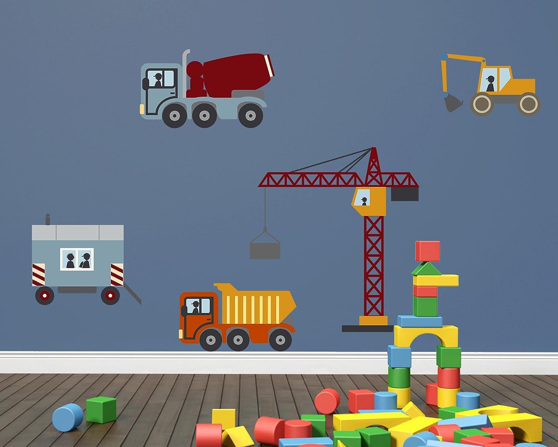 Wandsticker-Set Baustelle, Bagger, LKW und Kran als Wandbild für ...