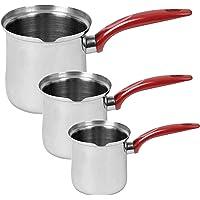 Lot de 3 cafetières turques en acier inoxydable Cezve pour cuisinière, beurre, mousseur à lait (3 cafetières rouge)