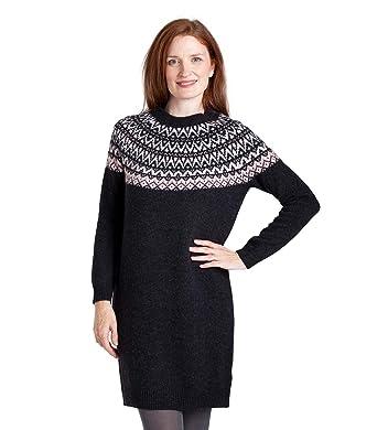 WoolOvers Womens Lambswool Long Sleeve Fairisle Jumper Dress ...