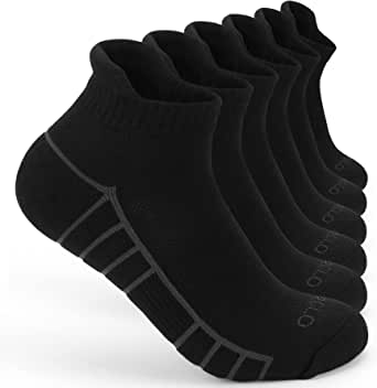 6 Pairs Mens Running Socks,Trainer Sports Ankle Socks for Men,Anti-Blister Cushioned Cotton Low Cut Breathable Athletic Socks