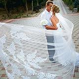 Velo da sposa monostrato Lianshi Velo da sposa in pizzo Ricamo Sposa Forniture 3m (Bianco)
