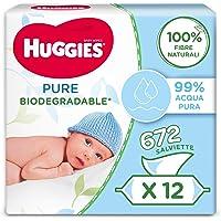 Huggies Pure Salviette Umidificate Biodegradabili per Bambini, 12 Pacchi da 56 Pezzi